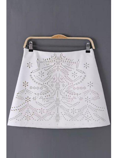 women's Floral Pattern Openwork Zipper Fly Skirt - WHITE M Mobile