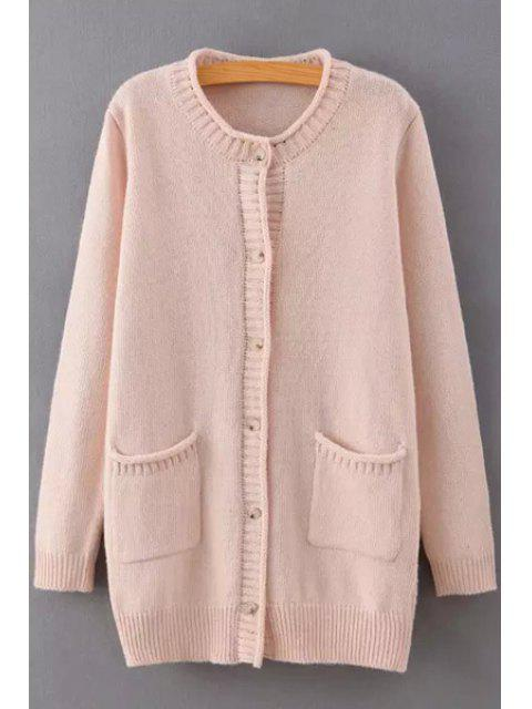 online Hemming Single-Breasted Long Sleeve Cardigan - PINK ONE SIZE(FIT SIZE XS TO M) Mobile