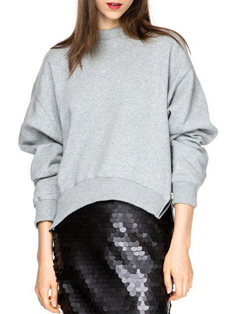 online Gray Long Sleeve Loose Fitting Sweatshirt - GRAY XS Mobile