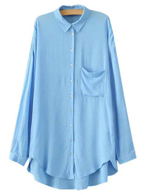 latest Polo Collar High Low Pocket Shirt - BLUE XL Mobile