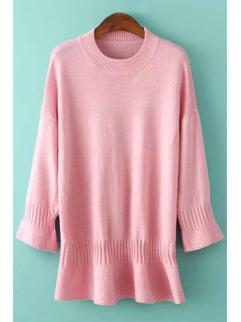 affordable Round Neck Solid Color Bell Sleeve Dress - PINK ONE SIZE(FIT SIZE XS TO M) Mobile