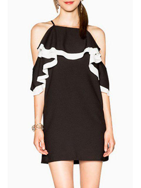 hot Color Block Cami Cut Out Dress - WHITE AND BLACK 2XL Mobile