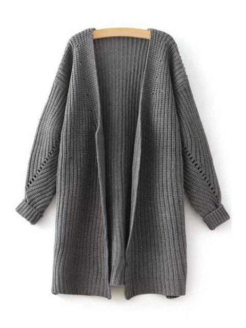 women's Side Slit Openwork Long Sleeve Cardigan - GRAY ONE SIZE(FIT SIZE XS TO M) Mobile