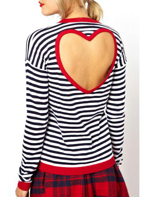 latest Stripes Backless Long Sleeve T-Shirt - WHITE AND BLACK S Mobile