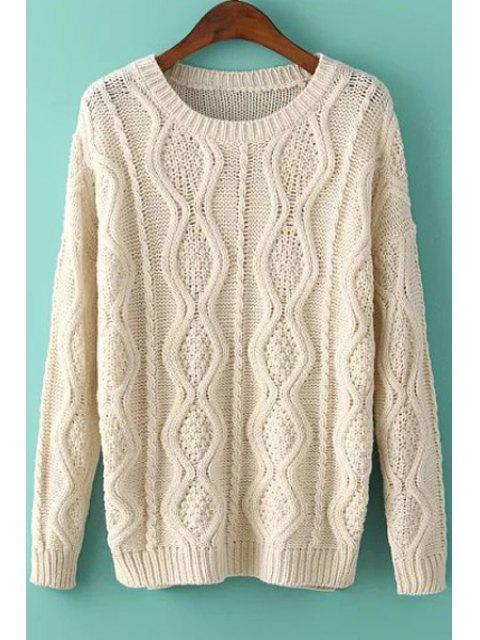 women Argyle Pattern Side Slit Long Sleeve Sweater - OFF-WHITE ONE SIZE(FIT SIZE XS TO M) Mobile
