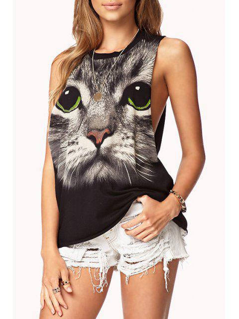 trendy Cat Print Sleeveless Tank Top - BLACK 2XL Mobile