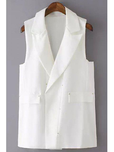sale Solid Color Lapel Waistcoat - WHITE M Mobile