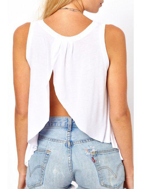 Débardeur sans manches Backless Slit - Blanc 2XL Mobile