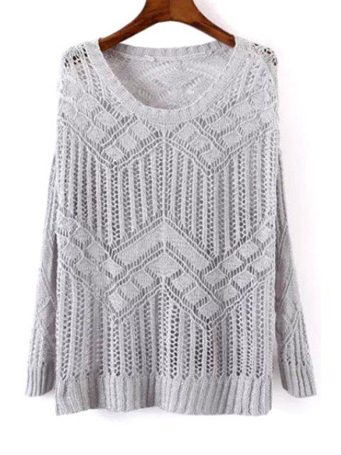 fashion Openwork See-Through Sweater - GRAY ONE SIZE(FIT SIZE XS TO M) Mobile