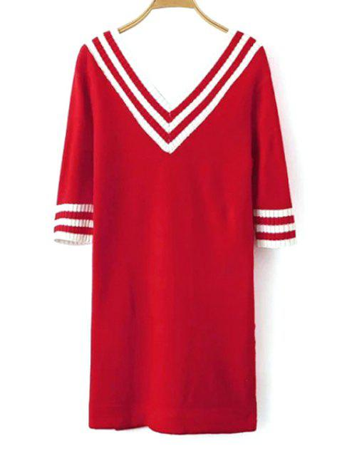 women V-Neck White Stripe Half Sleeve Dress - RED ONE SIZE(FIT SIZE XS TO M) Mobile