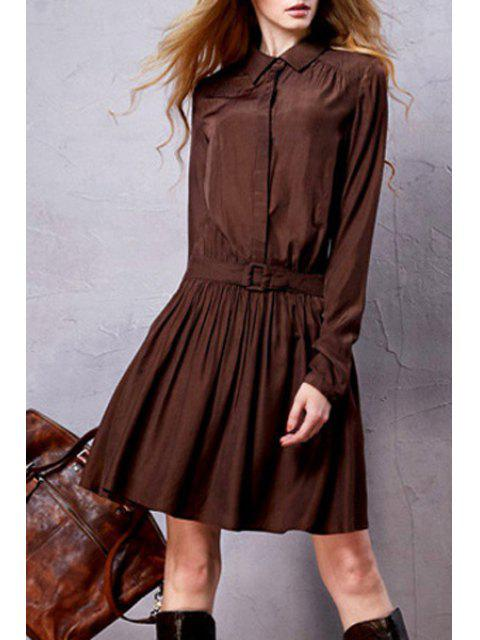 hot Long Sleeve Solid Color Tunic Dress - COFFEE S Mobile