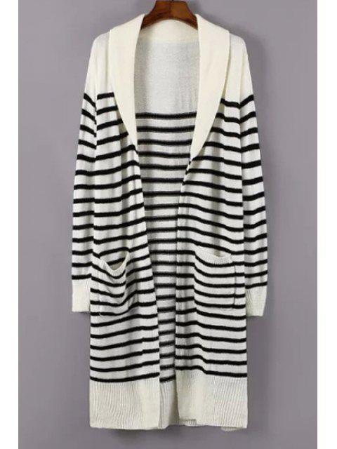 Turn-Down Kragen Weiß Schwarz Streifen Strickjacke - Weiß Einheitsgröße(Geeign Mobile