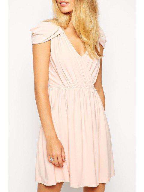 best Pure Color V Neck Cap Sleeve Dress -   Mobile