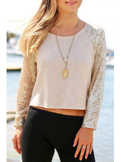 new Long Sleeve Sequined T-Shirt - KHAKI L Mobile