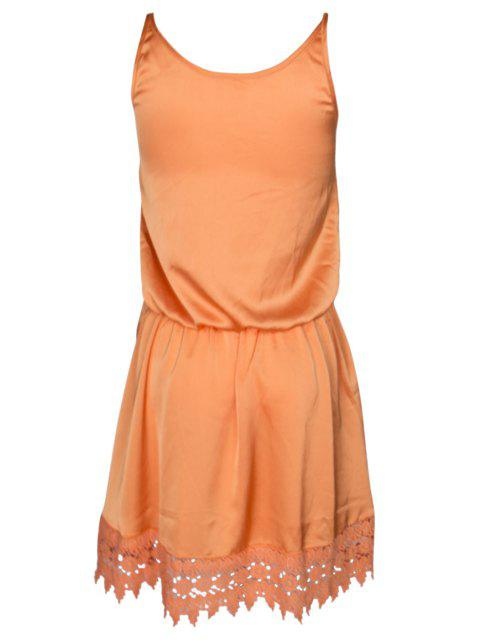 chic Lace Spliced Cami Orange Dress - ORANGE M Mobile