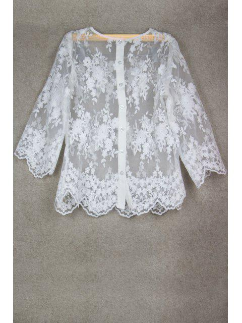 ladies See-Through Lace 3/4 Sleeve Blouse - WHITE S Mobile