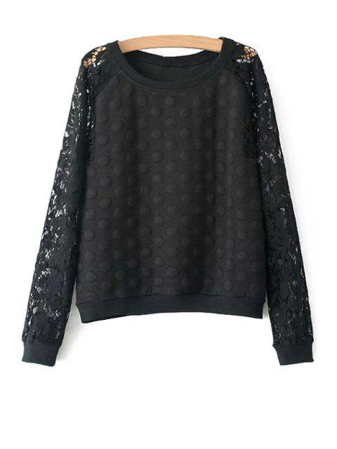 lady Polka Dot Lace Long Sleeve Sweatshirt - BLACK L Mobile