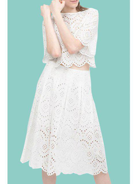 new White Openwork Lace Hook Crop Top and Skirt Suit - WHITE M Mobile