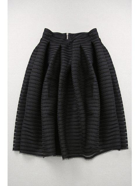 new Hollow Out High Waisted A Line Skirt - BLACK S Mobile