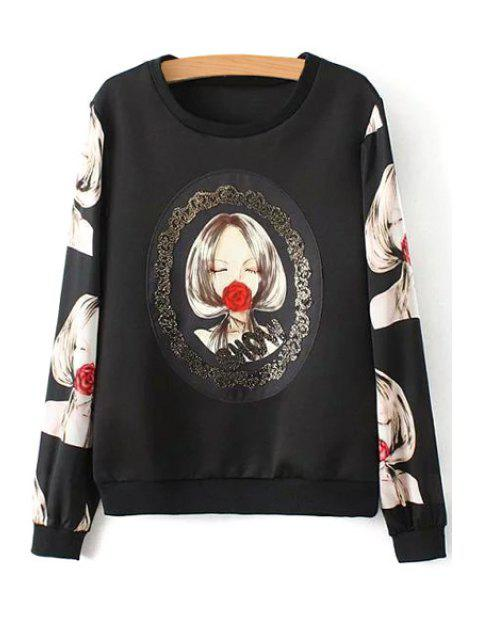new Girl Rose Print Long Sleeve Sweatshirt - BLACK L Mobile