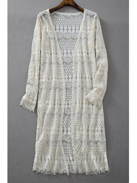 chic Crochet Lace Long Sleeve Blouse - OFF-WHITE S Mobile