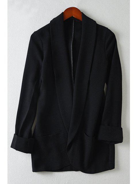 women Black Shawl Collar Long Sleeve Blazer - BLACK L Mobile