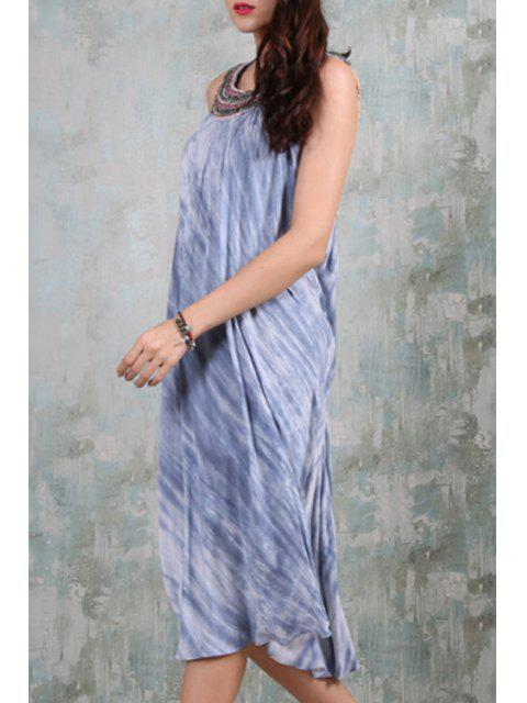 unique Beaded Backless Tie-Dyed Flare Dress - BLUE AND WHITE M Mobile