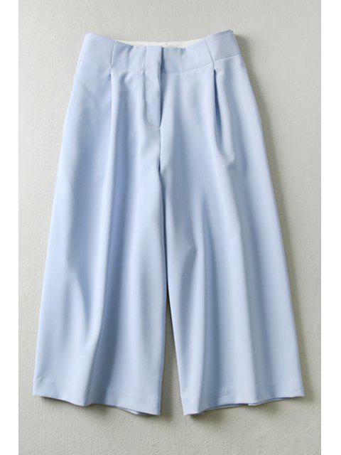fashion Blue High Waisted Capri Pants - BLUE M Mobile