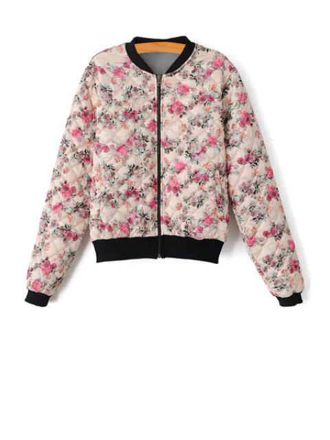 women Floral Print Zipper Long Sleeve Jacket - COLORMIX S Mobile