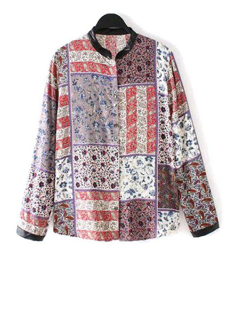affordable Stand-Up Collar Tiny Floral Print Plaid Shirt - COLORMIX M Mobile