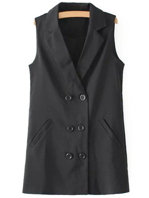 chic Lapel Double-Breasted Pocket Waistcoat - BLACK S Mobile