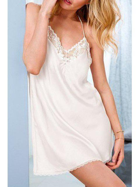buy Solid Color Cami Babydoll - WHITE ONE SIZE(FIT SIZE XS TO M) Mobile