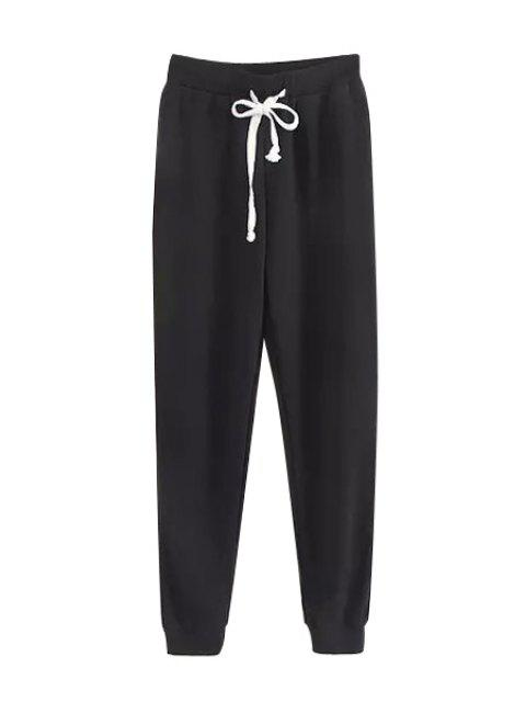 chic Tie-Up Solid Color Pants - BLACK S Mobile