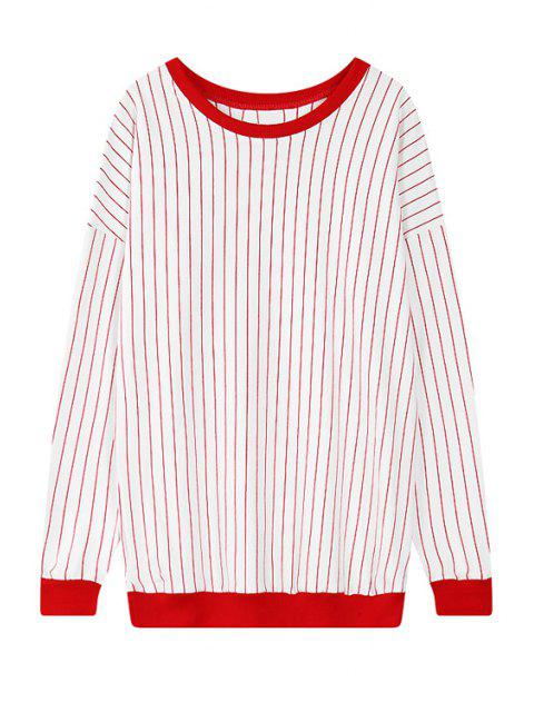 sale Striped Scoop Neck Long Sleeve Sweatshirt - RED ONE SIZE(FIT SIZE XS TO M) Mobile