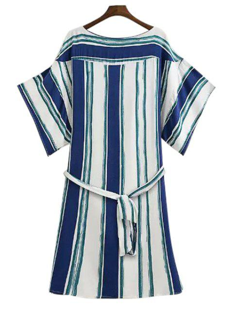 new Wide Sleeve Striped Loose-Fitting Dress - GREEN M Mobile