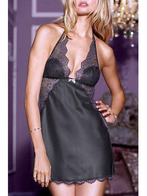ladies Halter Neck Lace Splicing See-Through Lingeries - BLACK ONE SIZE(FIT SIZE XS TO M) Mobile
