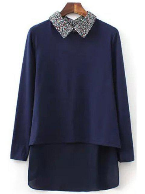 sale Tiny Floral Polo Collar Long Sleeve Shirt - CADETBLUE L Mobile