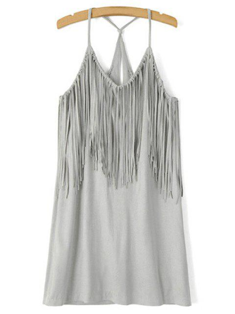 ladies Spaghetti Strap Fringe Splicing Faux Suede Dress - GRAY S Mobile