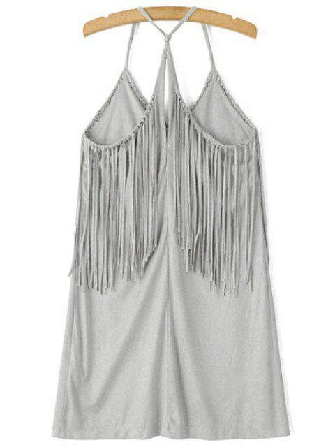 ladies Spaghetti Strap Fringe Splicing Faux Suede Dress - GRAY S Mobile