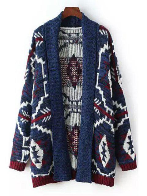 womens Turn-Down Collar Argyle Pattern Stripe Cardigan - BLUE M Mobile