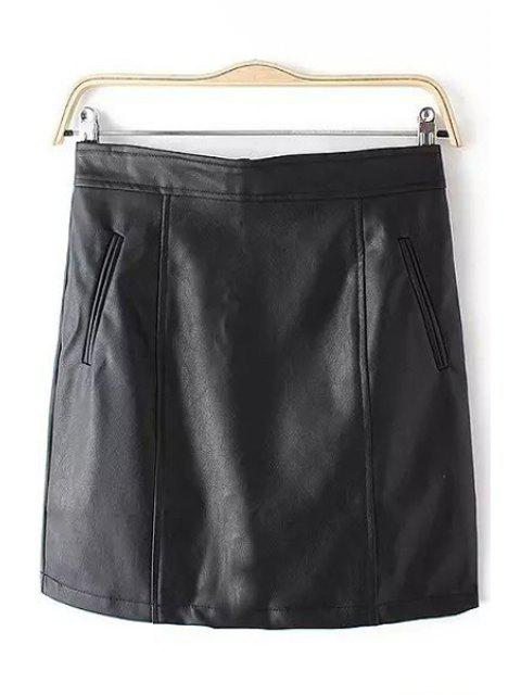 lady PU Leather Pocket Zipper Fly Skirt - BLACK L Mobile