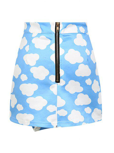 lady Full Cloud Print High Waisted Skirt - BLUE ONE SIZE(FIT SIZE XS TO M) Mobile
