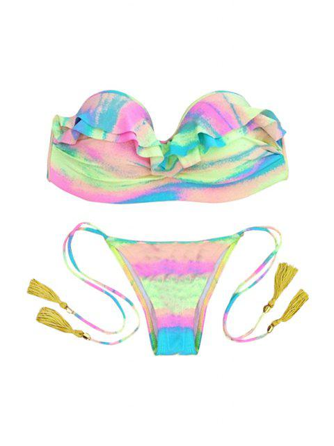 buy Strapless Colorful Flouncing Bikini Set -   Mobile