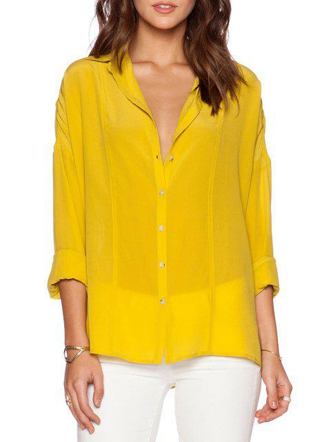 latest Pure Color Turn Down Collar Long Sleeve Shirt - YELLOW S Mobile