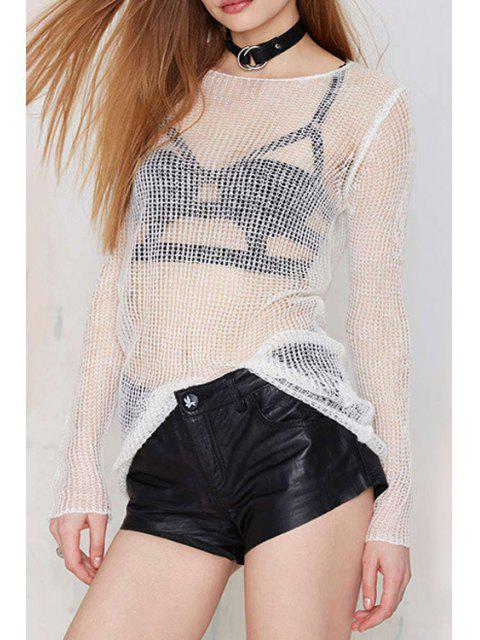 Tricots blancs à manches longues - Blanc 2XL Mobile