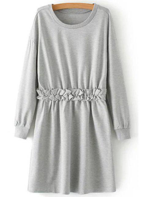 fashion Waist Flounce Splicing Long Sleeve Dress - GRAY M Mobile