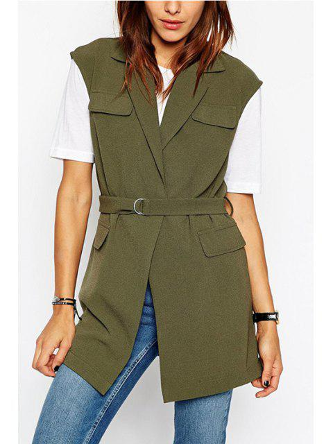 trendy Army Green Lapel Sleeveless Coat - ARMY GREEN 2XL Mobile