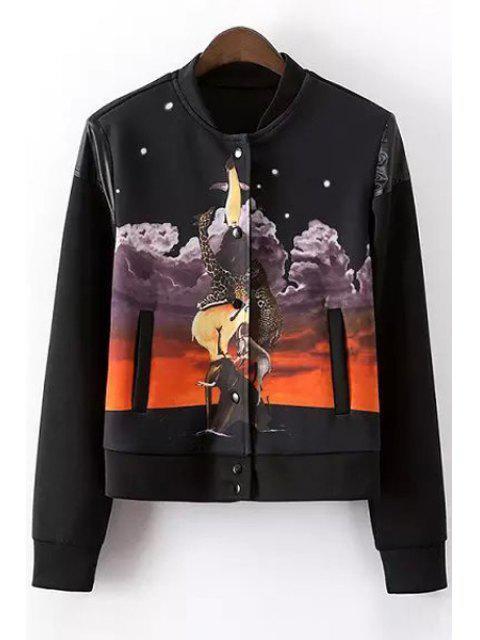 sale Stand-Up Collar Animal Print Long Sleeve Coat - BLACK M Mobile