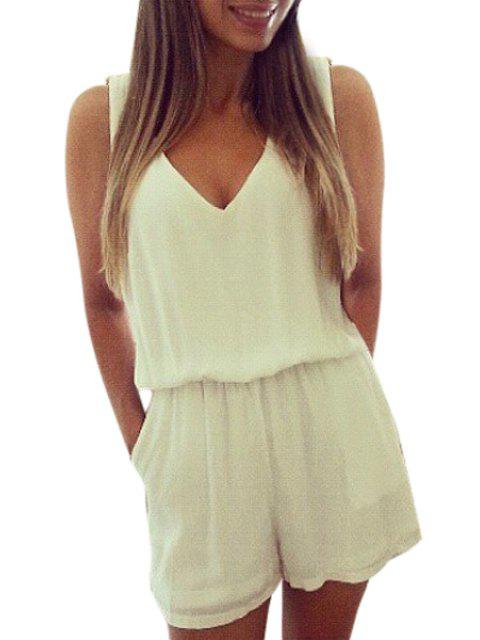 shops V-Neck Backless Lace Splicing Romper - WHITE XL Mobile