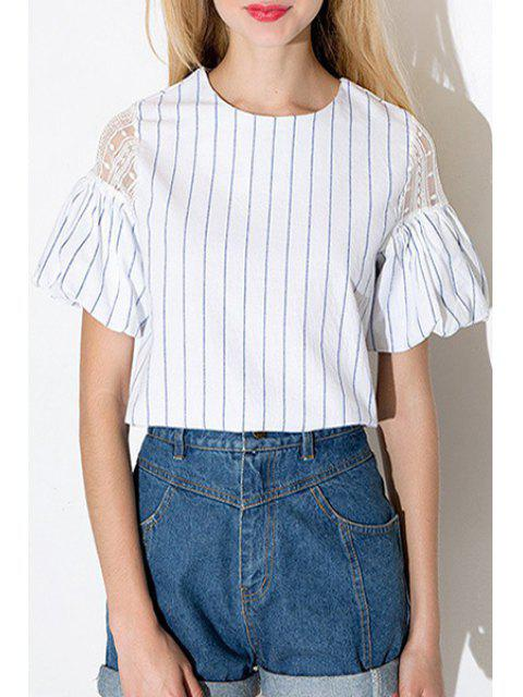 ladies Buds Sleeve Lace Spliced Stripes Blouse - BLUE AND WHITE M Mobile